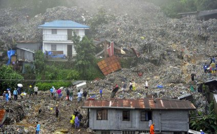 Rubbish landslide after